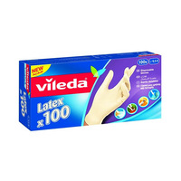 Vileda Latex Disposable Gloves Large 80 Pieces + 20 Free