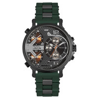 Lee Cooper Men's Multi-Function Black Case Green Resin Strap Black Dial -LC06369.432