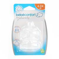 Bebeconfort Maternity Wide-Base Teat Silicone S.2 - 3 Speeds Medium - Fast x2