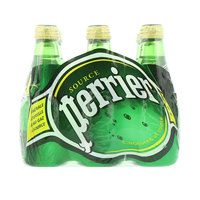 Perrier Natural Sparkling Mineral Water Glass Bottle 200mlx6