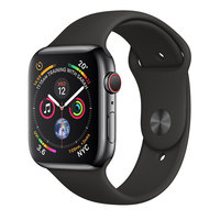 Apple Watch Series-4 GPS + Cellular 44mm Space Grey Aluminium Case with Black Sport Band (MTVU2AE/A)