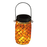 Carrefour Solar Led Glass Jar Orange