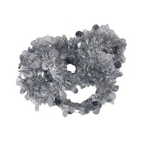 Christmas Tinsel Garland Dotted 7. 5 Cm Silver