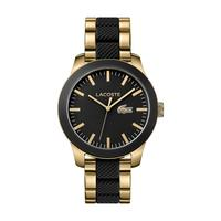 Lacoste Men's Watch L12.12 Analog Black Dial Yellow Gold Mixed Metal Band 43mm  Case