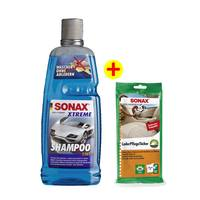 سوناكس إكستريم شامبو لغسيل السيارة إثنان في واحد مع خاصية التنشيف + سوناكس مناديل لتنظيف الجلد مجاناً
