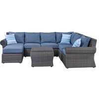 Badr Wicker Corner Set 8Pcs With Cushions (Delivered within 7 business days)