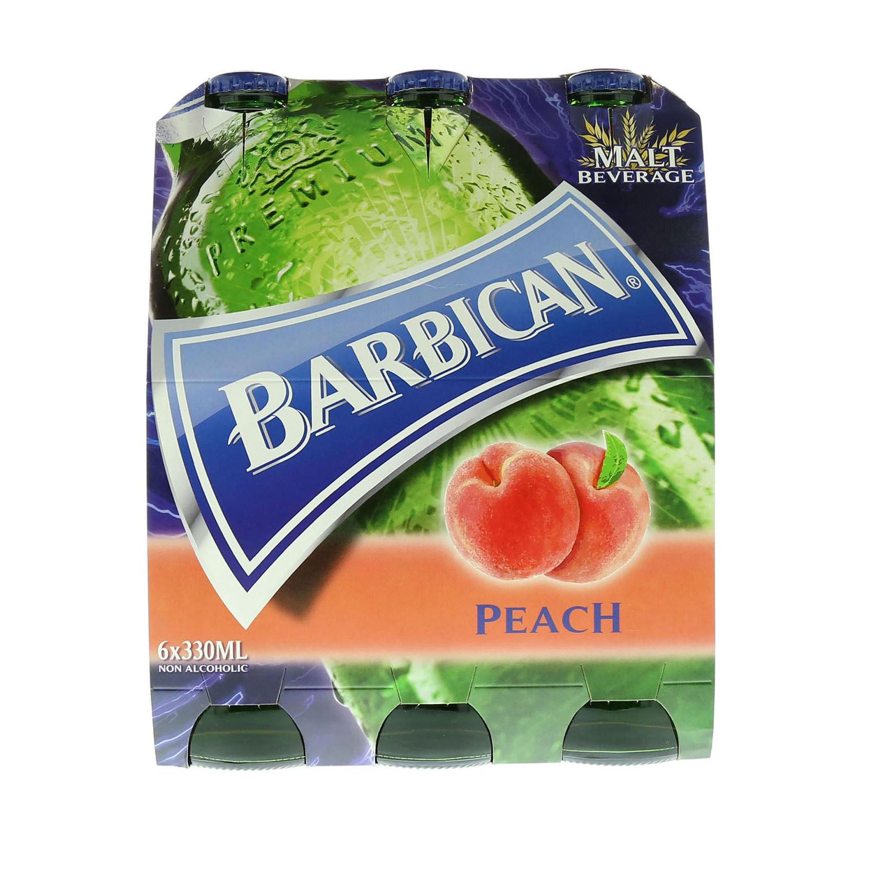 BARBICAN N/ALCO BEER PEACH 330MLX6