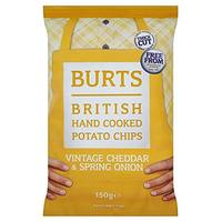 Burts British Hand Cooked Potato Chips Vintage Cheddar & Spring Onion 150g