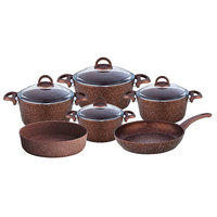 Cooking Set Granite Mocha 10Pcs