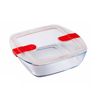 Pyrex Glass Square Dish With Vented Lid 2.2L