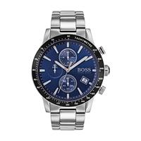 Hugo Boss Men's Watch Rafle Analog Blue Dial Silver Metal Band 44mm  Case