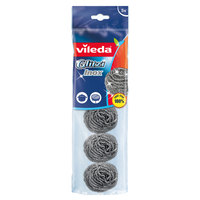 Vileda Inox Dish Washing Metallic Staineless Steel Spiral Scourer 5Pcs