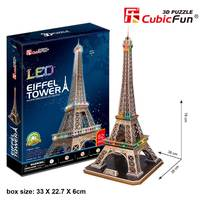 CubicFun LED 3D Puzzle 82 Pieces: Eiffel Tower