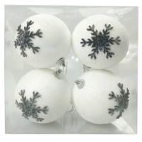 Balls Set 4Pcs 8Cm White Ball Black Flak