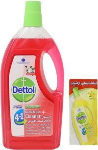 Dettol Multi Action Cleaner 4 in 2 With Jasmine - 900 ml + Cleaner With Lemon 400 ml