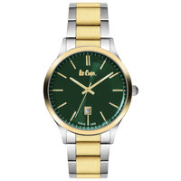 Lee Cooper Men's Analog TT Gold Case TT Gold Super Metal Strap Green Dial -LC06293.458