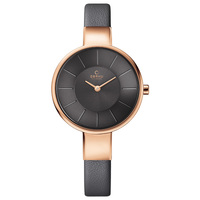 Obaku Women's Watch V149 Analog Grey Dial Brown Leather Band 32mm Rose Gold Case