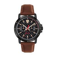 Scuderia Ferrari Men's Watch Turbo Analog Black Dial Brown Leather Band 42mm Case