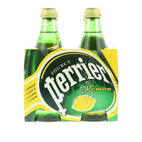 Perrier Natural Sparkling Mineral Water Lemon Glass Bottle 4X330ml