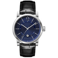 Giordano Men's Watch Analog Display Blue Dial Black Genuine Leather Strap Strap - 1834-01