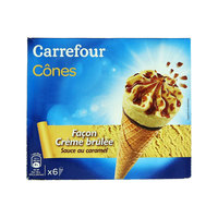 Carrefour Ice Cream Cones With Cream Brulee 120ml x6