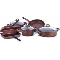 Granite 9Pcs Mocha Double Frypan Cooking Set