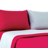 Tendance Single Comforter 3pc Set Grey/Burgundy