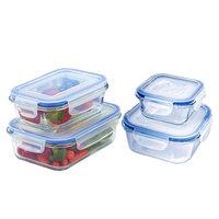 Feelings – 4Pcs Borosilicate Glass Storage– Rect -380 Ml + 620 Ml & Square 380 Ml + 620 Ml