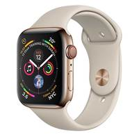 Apple Watch Series-4 GPS + Cellular 44mm Gold Stainless Steel Case with Stone Sport Band (MTX42AE/A)