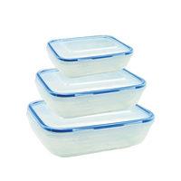 حافظة طعام مستطيل بلاستيك 3 قطع
