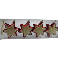 Christmas Deco Set Round Hexagonal Star 4Pcs/7Cm Red