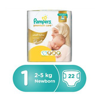 Pampers Diapers  Premium Care New Born Carry Pack Size 1 22 Pieces