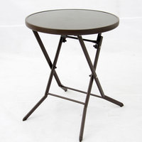 Steel Folding Glass Table Brown 60X71Cm