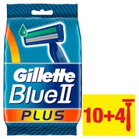 Gillette Blue II Plus Men's Disposable Razors, 10+4 count