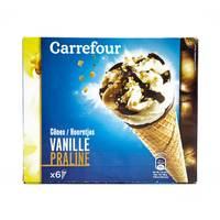 Carrefour Vanilla Praline Cones x6