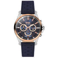Lee Cooper Men's Chronograph TT Rose Gold Case Blue Leather Strap Blue Dial -LC06365.599