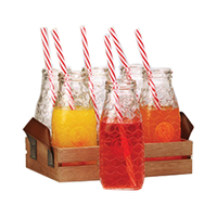 Glass Bottle 6 Pieces + Wooden Tray
