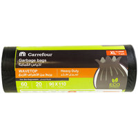 Carrefour Black Garbage Bags Wave Top XL 20 Bags 60 Gallons