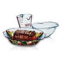 بايركس طقم زجاجي وعاء للشواء + وعاء خلط و إبريق قياس