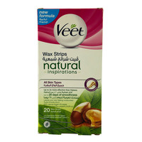 Veet Wax Strips Natural Inspirations With Natural Argan Oil Wipes 20 Strips