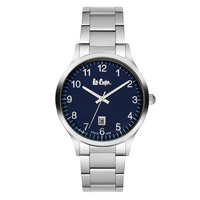 Lee Cooper Men's Analog Silver Case Silver Super Metal Strap Blue Dial -LC06298.390