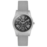 Lee Cooper Women's Multi-Function Silver Case Silver Super Metal Strap Black Dial -LC06319.360