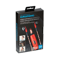 Grundig Stereo Earphones With Microphone 86343 LED Red