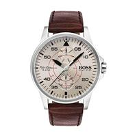 Hugo Boss Men's Watch Aviator Analog Parchment Dial Brown Leather Band 44mm  Case