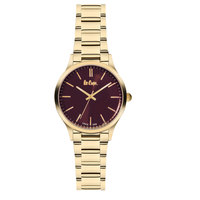 Lee Cooper Women's Analog Gold Case Gold Super Metal Strap Brown Dial -LC06300.180
