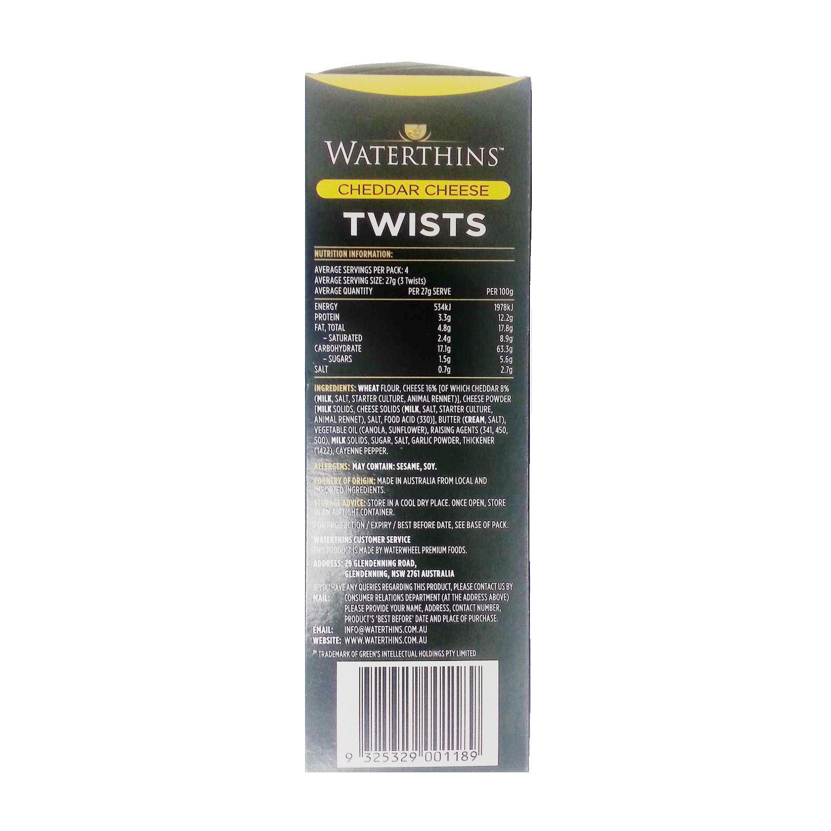 WATERTHINS TWISTS CHEDDAR 110G