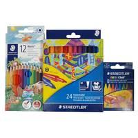 Staedtler 24 Fibre Tip pens + 12 Colors Pencils + 8 wax crayons