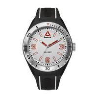 Reebok Men's Watch Emom 1.0 Analog White Dial  Black and White Silicon Band 48mm  Case