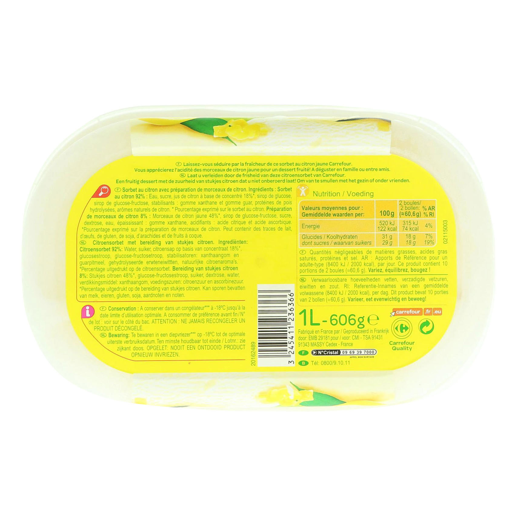 CRF ICE CREAM SORBET LEMON 1L