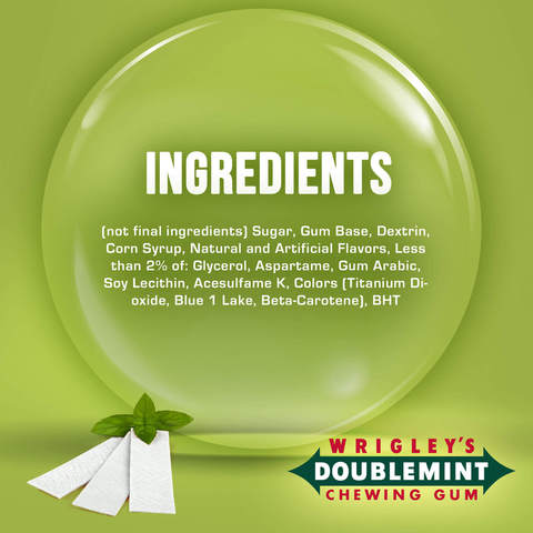 Wrigley's-Doublemint-Gum,-Peppermint,-5-sticks